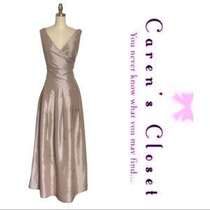 Calvin Klein Metallic Taffeta Long Gown
